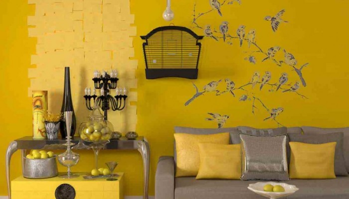 yellow-paint-colors-for-contemporary-living-room-interior-ideas-embraces-grey-sofa-with-cushions-and-coffee-table-alongside-yellow-side-table-embellished-with-fancy-pendant-lamp-915x1143